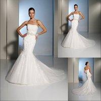 $40 off per $300 order W1517 Discount organza applique mermaid designer wedding dress