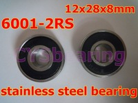 whosale and retail quality stainless steel 440C S6001 2RS SS6001 6001 2RS 12X28X8 mm deep groove ball bearing