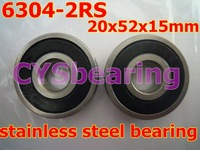 whosale and retail quality stainless steel 440C 6304 2RS 6304 2RS 20X52X15 mm deep groove ball bearing