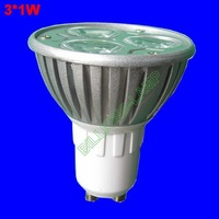 led spotlight GU10 3W high lumen 220VAC lighting lamp 3*1W FREE SHIPPING Wholesale Fast Delivery