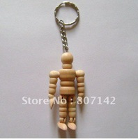"Free shiping 2.5""  super cute key chain joint dolls wooden doll wooden doll puppets joints were(10piece/lot)"