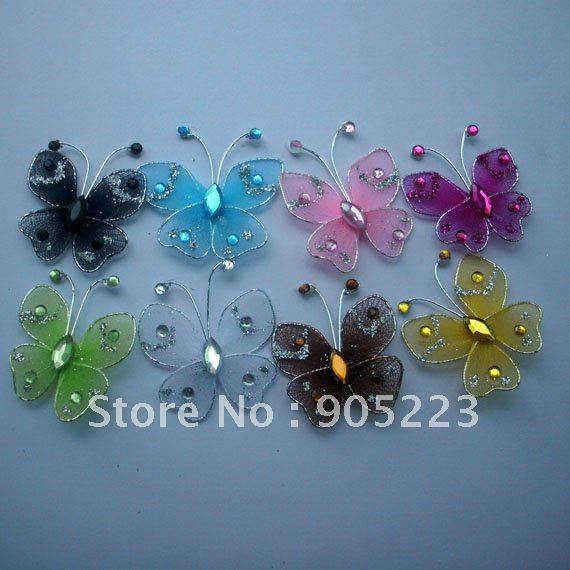 Free shipping Wedding Decoration 3cm 200pc Nylon Butterfly new wholesale /retail Mixed Color or U Pick(China (Mainland))