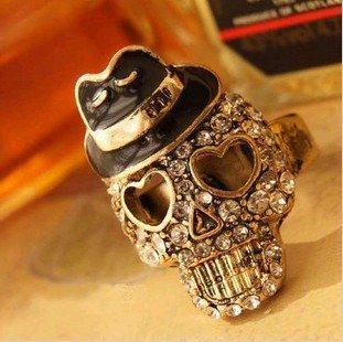 18.5mm size Punk Fashion Rings Skull Head Pirates Caribbean For Cool/Band/Rock/Bar/Pub, Adjustable J1143