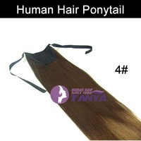 Human Hair Ponytail Extension 4# Dark Brown Color 16/20/24inch 100g/piece 100% Real Human Hair Accept Custom Order Free Shipping