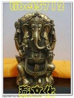 from Tibetan Buddhist bronze GANESHA INDISCHER GOTT statue 18 cm 1.2 KG  free shipping