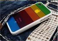 Free shipping rainbow case,mobile phone case ,silicon case for iphone 4 ,20pcs/lot