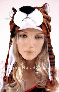 Free shipping Brown Tiger Stripes Hood Animal hood Wholesale 10pc/lot Halloween accersories Fur hat 72008
