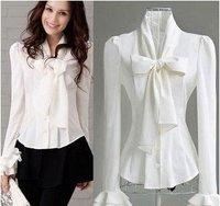 м л женщин Лучшие модельные высокого качества сыпучих плиссированные рукавов шифон рубашки и блузки # wz08