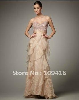 Free shipping 2012 elegant one-shoulder chiffon evening wear