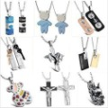 Free shipping by DHL FEXDEX EMS stainless steel pendant necklaces couple necklace lover's jewelry 10pcs /lot