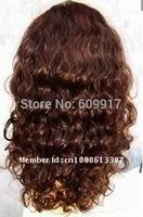 100% Human hair Jewish wig brown curl high quality lace wig kosher wig