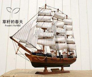 70 cm Wooden handicraft wood carving craft home decoration decor sculpture  sailboat sailing ship models