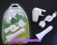 FREE SHIPPING 20PCS/LOT 3 in 1 Charger for iPod Apple iPhone 4G 3G 3GS