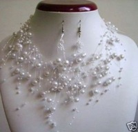 Hot Fashion Jewellery Beautiful White Pearl Bead Necklaces Earrings Set free shipping
