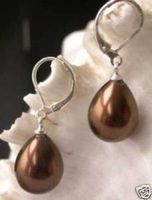 New fashion Hot Beautiful Jewellery Pair Charming Chocolate shell Pearl Earring Drop Earrings free shipping