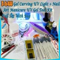 36W NAIL UV LAMP DRYER + FULL SET MANICURE UV GEL 46#