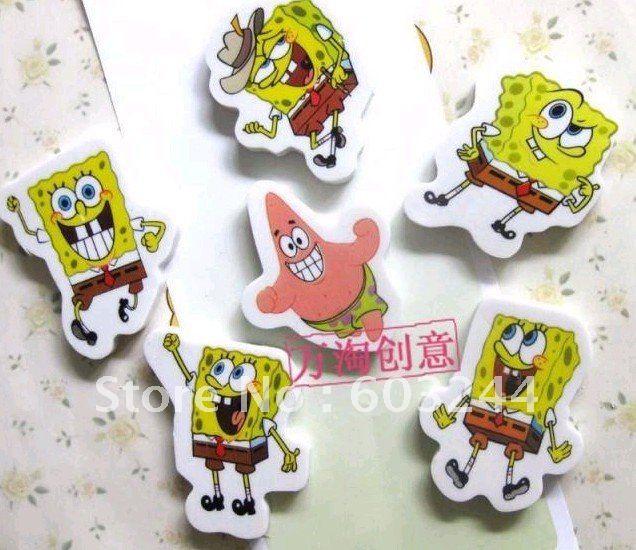 Free Ship 36 Pieces Mixed SpongeBob Sponge Bob Cartoon Eraser pencil eraser office supply Eraser for Kids Gift In Nice Gift Box(China (Mainland))