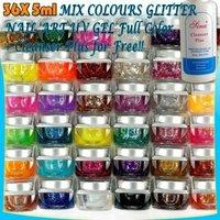 36pcs Mix Colour Nail Art Tips UV Builder Glitter Gel Set +Cleanser Plus 18#