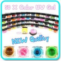 076 Free shipping QUALITY SET 50 x COLOR UV GEL NAIL GLITTER ART TOOL