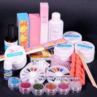 PRO UV GEL NAIL KIT + 6 Powders Glues FILE BLOCKS Primier Tips kits Sets 268
