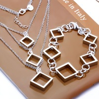 wholesale 925 Sterling Silver jewelry,925 necklace +bracelet jewelry set, Free Shipping, S064