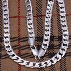 "Hot 925 Sterling Silver 8mm 20"" Flat Chain Necklace Mens Necklace.FreeshippingN034(China (Mainland))"