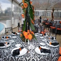 108inch round black/white flocking taffeta tablecloth