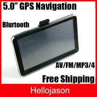 "Free Shipping 5.0"" Touch Screen Car GPS Navigation FM MP3 MP4 Bluetooth AV-IN  3pcs/lot"