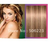 Clip hair extensions 100% remy clip hair extension P8/613 mixed blonde , 100g/pcs  1000g/lot