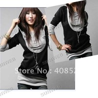 2014 Korea Women's Sweatershirts Fashion Long Sleeve Shirt Cotton Tops Hoodies Coat Outerwear Black&Gray free shipping 2312