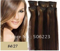 "20"" 100% human clip in hair extension #4/27 mixed color 85g/pcs 10 pcs/lot"