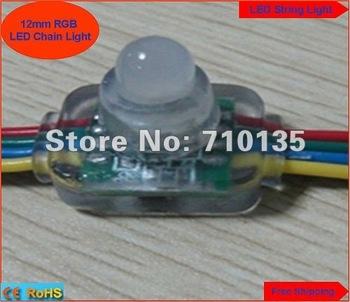 Waterproof DC5V 12mm Square RGB LED string light LED Module Highlight Superflux full color pixel LED Module 200pcs free shipping