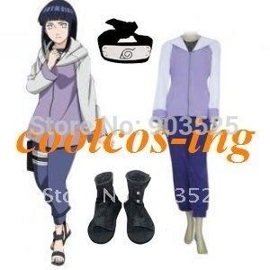 Free Shipping Naruto Shippuden Hinata Hyuga Cosplay Costume +Headband+Shoes
