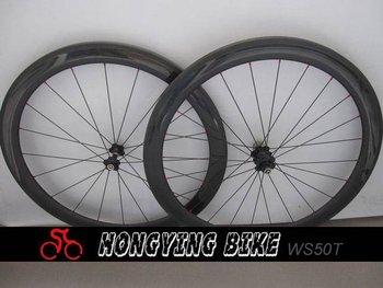 3k Clear Finish 50mm Carbon Bike  Wheel Tubular