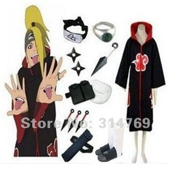 Free Shipping,Apparel Naruto Cosplay Costume- Naruto Akatsuki Deidara Cosplay Costume Set,Halloween / Party Cosplay(China (Mainland))