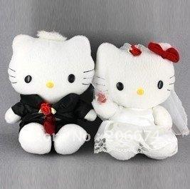 Lovers doll Cute Plush Stuffed Animal Kitty Doll Wearing Wedding Dress 2pcs/pack (White),free shipping
