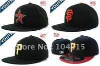 Free Shipping wholesale 12pcs/lot kid Baseball teams caps children sports hats fitted on field hats kid sport caps