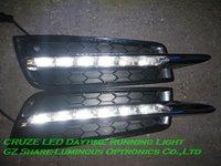 Free HKPAM! High Quality 12 leds Super Brightness LED Daytime running light/DRL for Benz style CRUZE DRL Kit with Chromed Bar