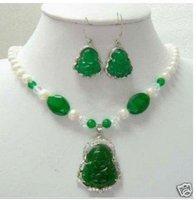 New Pearl &Green Jade BUDDHA AMULET Pendant Earring AKOYA Free shipping