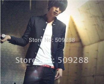 Free Shipping!  Casual men black Blazers mandarin collar Korean Slim thin polyester jacket sizeM-XXL