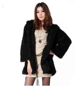 Free Shipping 100% Polyester  Sexy women Coat, Noblest wool Coat , Speaker sleeve Coat , Hand-woven Belt Warm  Coat