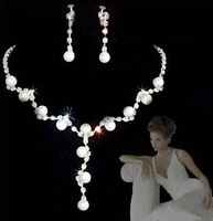 wedding jewelry set  fashion crystal bridal jewelry pearl necklace and earrings