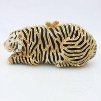 Luxurious Crystal Gold Tiger Clutch Evening  Purse Handbag animals Sexy Handbag