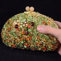 Luxurious Red Leaves Grape Clutch Evening Bag Handbag Purse