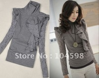 Hot sale new style white flouncing fashion shirt wholesale+free shipping lace women shirts w654