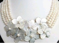 2011 New Hot Fashion Woman's Jewelery natural 4 row white freshwater pearl shell flower necklace free shipping