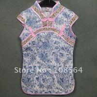 cotton jacquard Chinese traditional long gown kids childrens qipao cheongsam chirpaur QP15010 free shipping 6PCS in 1 lot