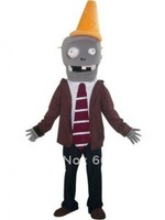 Grey Conehead Zombie Plush Plants VS. Zombies Mascot  Free Shipping