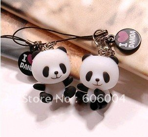 Free Shipping  2 pcs I LOVE PANDA cute Mobile Cell Phone Strap Wholesale and Retail