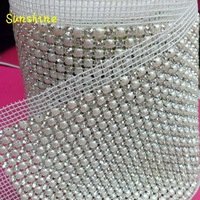 Rhinestone Sew on mesh, 24-Row crystal Mesh with SS18 stone &pearl, garment accessories, free shipping